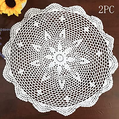 White Round Crochet Doilies Cotton Vintage Tablecloths Table Mats Doily 23.6 In