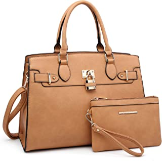 Dasein Women Handbags and Purses Ladies Shoulder Bag Top Handle Satchel Tote Work Bag with Matching Clutch
