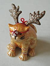 Bejeweled Collection Department 56 Cat with Reindeer Nose Enamel Jeweled Box