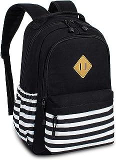 Leaper Canvas Backpack bag School Bookbags College Bags Travel Daypack Black