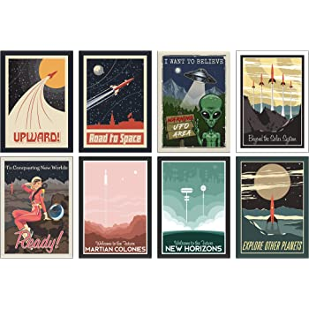 the lazy panda card company Set of 8 A4 Space Posters - Great present for Astronauts!