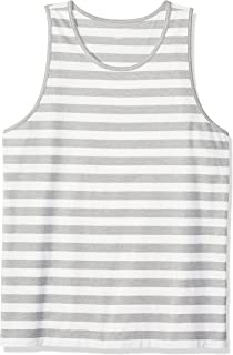 Amazon Essentials Men's Regular-fit Tank Top, Light Gray Heather/White, Small