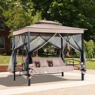 Lexvic 3 in 1 Patio Swing Gazebo Canopy Daybed Hammock Canopy Tent, Swing Chair Bench Loveseat Outdoor Seat Patio Daybed with UV Resistant Canopy and Mesh Walls (Beige)
