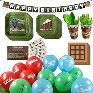 Deluxe Tableware Set for Pixel Mine Crafter Themed Parties with Happy Birthday Banner! (Serves 8) - Birthday Party Supplie...