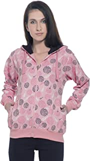 Alan Jones Women's Cotton Zipper Hooded Sweatshirt