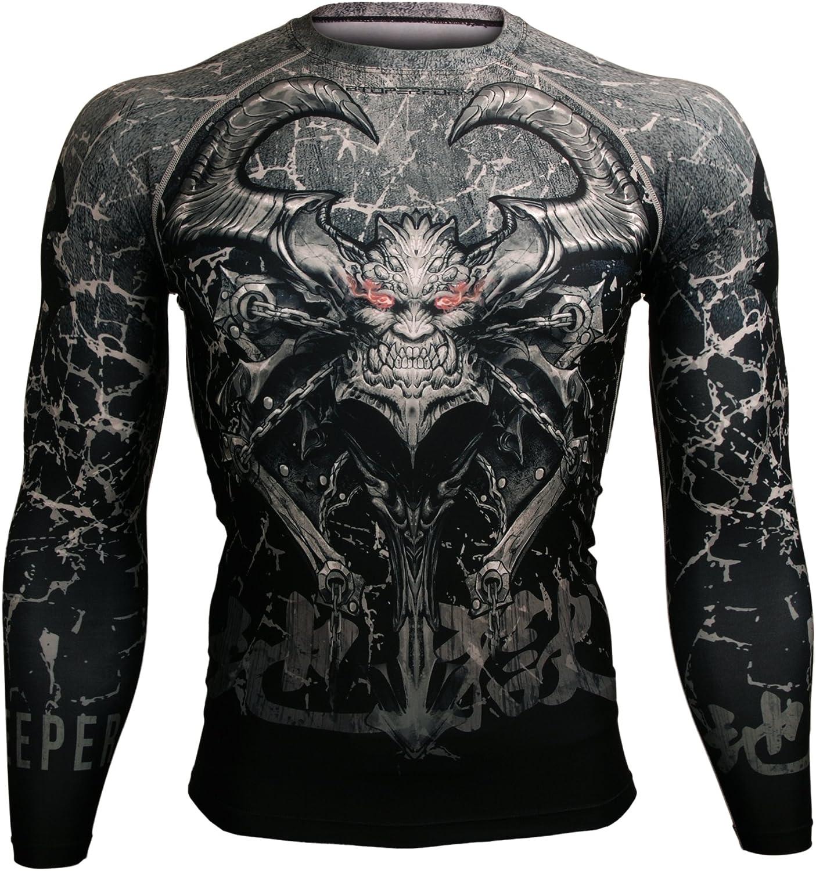 Btoperform Compression Rash Guard Full Graphic Base Layer Shirts Gatekeeper of Hell [FX-101]