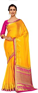 Mimosa Art Crape silk saree Kanjivarm Pattu style With Contrast Blouse Color: Gold (4250-2256-2D-GLD-RNI)