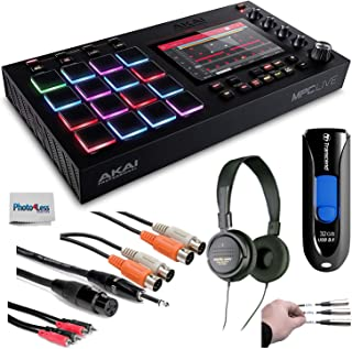 Akai Professional MPC Live Standalone MPC + Audio-Technica Stereo Headphones + Transcend 32GB JetFlash USB + Cables + Peel-Off Labels + Cleaning Cloth – Deluxe Music Bundle!