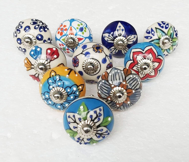 Handmade Hand Kansas City Mall Painted Ceramic Cabinet Under blast sales Assorted Knobs Multicolor