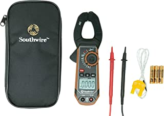 Southwire 21510N clamp meter, third-hand test probe holder, 400A AC current range, CAT III 600V safety rating, built-in non-contact voltage detector, 5 year warranty