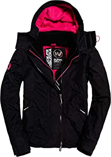 Superdry Women's Arctic Hooded Pop Zip Up Fleece Lined Multi Pocket Sd-Windcheater Jacket