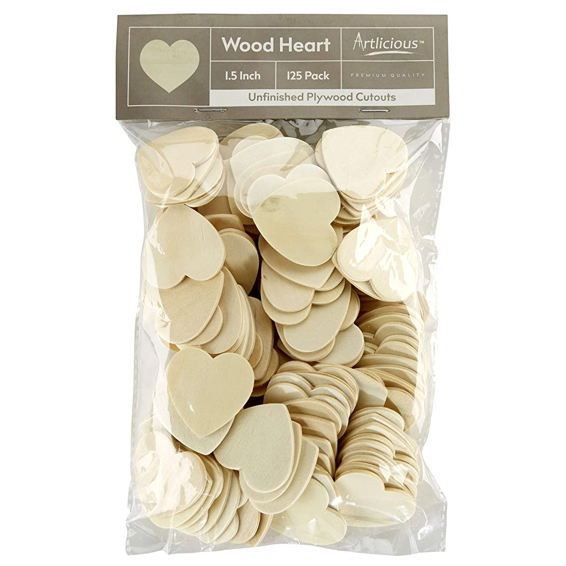 Artlicious - 125 Unfinished Wooden Heart Cutouts - 1.5