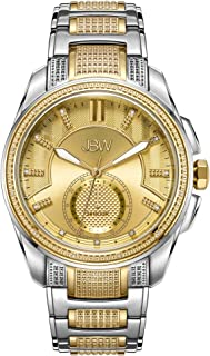 JBW Luxury Men's Prince 23 Diamonds 24HR Time Gold-Plated Stainless Steel Watch - J6371B