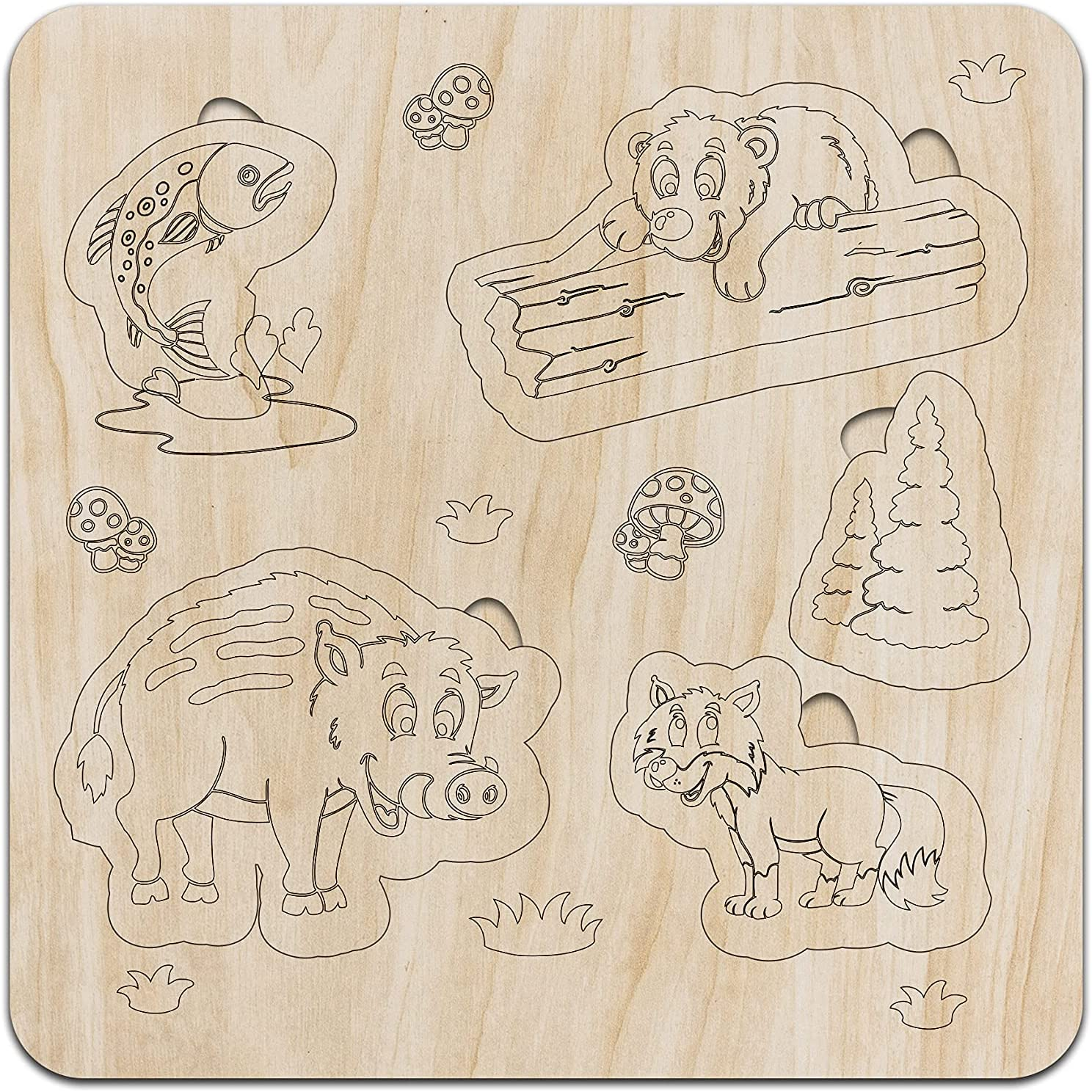 Ambesonne Wooden Puzzle Forest Animals Bear Pond The L Fish Super Special SALE shipfree held and