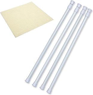Danily Barras ajustables con muelle de tensión para armario, de 40 a 70 cm, blanco, viene con un forro antideslizante, paquete de 4