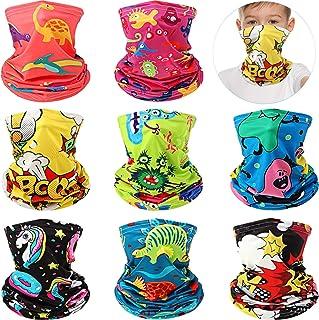 8 Pieces Kids Bandanas Face Cover Multifunctional Kids Face Balaclava Neck Gaiter Shield Scarf Face Headband for Boy Girl