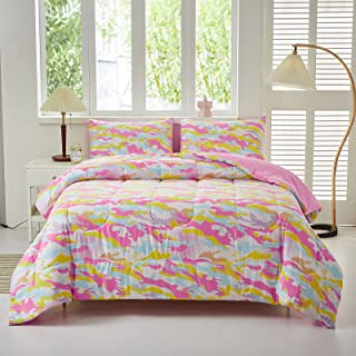 Akkialla Colored Comforter Set with Pillowcase, Twin Size 2 Piece Pink Bedding Set, Beautiful Colorful Decor for Girls Bed...