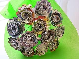 Scalloped Comic Book Paper Flowers Bunch, 1 Dozen 1.5 Inch Roses on Stems, Cartoon Theme Bridal Shower Decoration, Home Decor, Superhero Birthday Party Decor Centerpiece