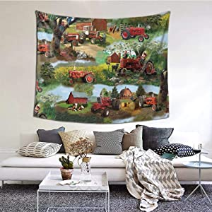 ZVEZVIZVEZVI Tapiz, tapices de Pared de la Universidad de Animales de Tractor, Tela Decorativa de Interior para Colgar en la Pared para Sala de Estar, Dormitorio, 60 x 51 Pulgadas