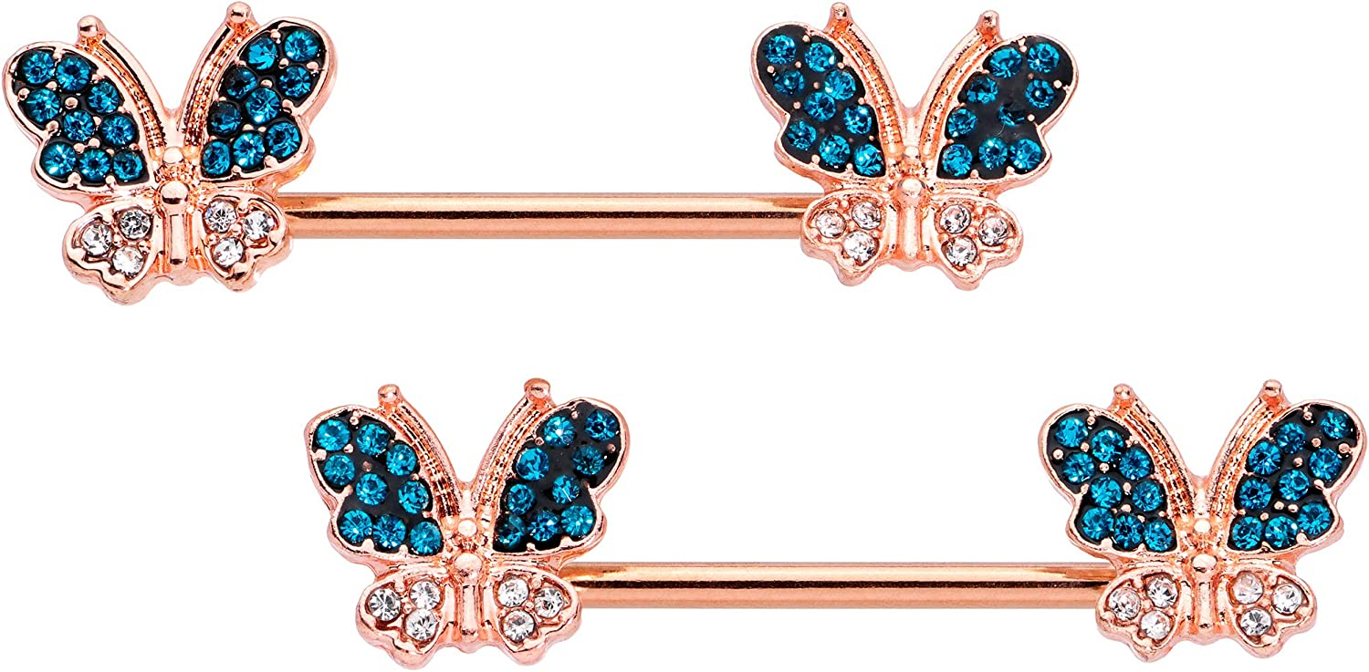 Body Candy 14G Womens Nipplerings Piercing PVD Steel 2Pc Rosy Blue Accent Butterfly Nipple Ring Set 9/16