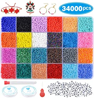 VICOVI 34000+ Seed Beads Jewelry Making Kit,with Letter Beads & Elastic String, Glass Seed Beads for DIY Earrings, Bracelets, Necklaces.