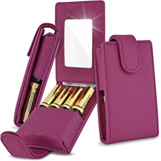 Celljoy Case for LipSense, Younique, Kylie Cosmetics, Liquid Lipsticks and Lip Gloss with Mirror - Fits 4 Tubes Mirror Card Slot - Travel Purse Storage (Purple)