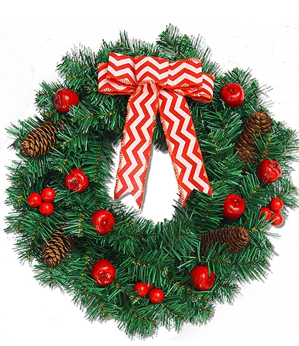魔女ハイキングに行く雪クリスマス リース 玄関 ドア ゴージャス かわいい デコレーションリース 蝶結び 赤い実物 松笠 クリスマス飾り インテリアの飾り 35cm (バムジャンプ) Vamjump
