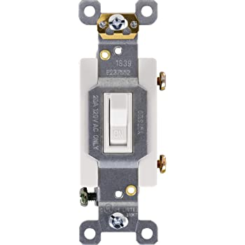 GE, White, Ultra Pro Heavy-Duty, Single Pole, Wall, Light, Fan, One Switch Circuits, Self-grounding Clip, Easy to Install, 20A/120V AC, UL Listed, 42160