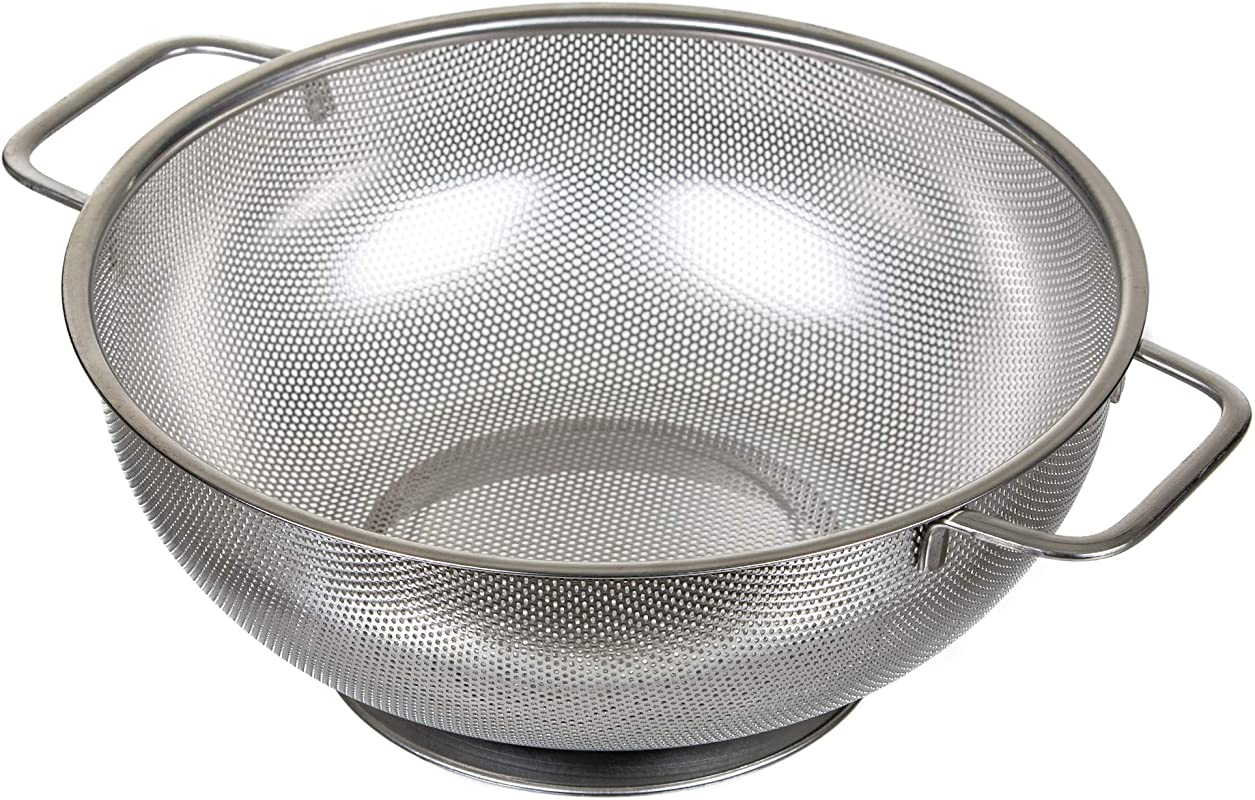 TOP Radiance Colander Stainless Steel Strainer 5 Quarts With Handles Micro Perforated Large Heavy Duty Sieve Perfect To Rinse Uncooked Rice NO WASTE Dishwasher Safe Long Lasting Performance