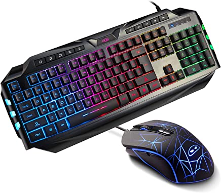 Gaming Keyboard and Mouse Combo,MageGee Wired Backlit Keyboard and Gaming Mouse Combo,PC