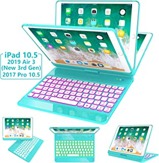 iPad Pro 10.5 Case with Keyboard 2017/ iPad Air 3rd Gen Case with Keyboard 10.5 2019, 360 Rotate 7 Color Backlit Wireless Folio Keyboard Case Cover, Auto Wake Sleep/Silent Typing, Tiffany Blue