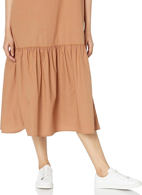 The Drop Womens Ilana Loose Sleeveless Wide-Hem Poplin Maxi Dress