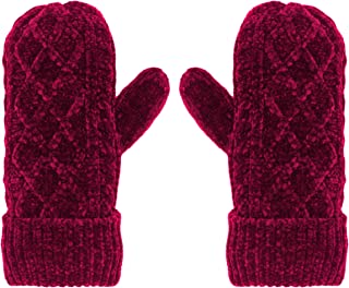 Pudus Chenille Cable Knit Winter Mittens for Women, Fleece-Lined Warm Gloves