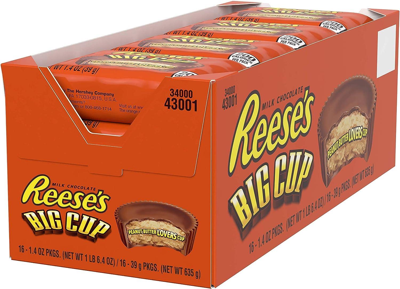 Reese's Mantequilla de maní grandes tazas, paquete de 18 onzas (paquete de 16), juego de 2