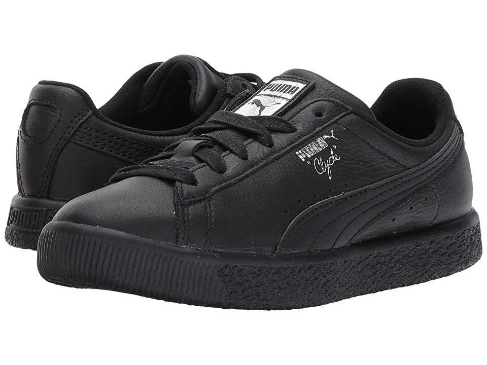 Puma Kids Clyde Core L Foil (Little Kid/Big Kid) (Puma Black/Puma Black) Boys Shoes