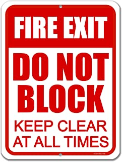 Honey Dew Gifts Exit Sign, Fire Exit Do Not Block 9 inch by 12 inch Metal Aluminum Door Sign, Made in USA