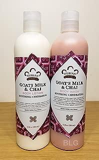 Goat's Milk & Chai Lotion & Body Wash Set.. by Nubian 13oz each (2 Bottles) ... iwgl