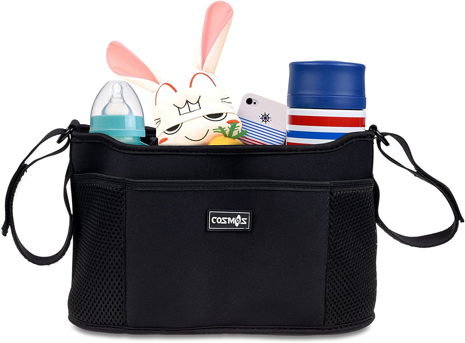 CM Stroller Organizer Diaper Bag Stroller Accessories Pack with Drink Holders and Zipped Pockets for Baby Stroller, Car, Shopping Cart. Fits All Major Strollers. (Black)
