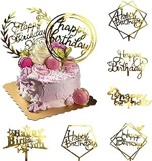 8 عدد Glitter Glitter Cake Topper کیک آکریلیک Toppers کیک تولد تولدت مبارک لوازم تزئین کیک لوازم مهمانی برای کودکان یا بزرگسالان انواع مختلف کاپ کیک