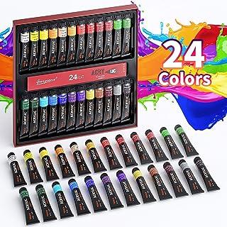 Set di Colori Acrilici Per Dipingere - 24 Tubi di Colori a Tempera, Ciascuno 12 ml, Alta Qualità Non Tossico, per Pittura ...