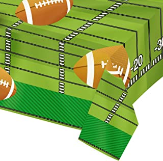Plastic Tablecloths for Footbal Game Day, 4 Pack - Party Table Cloths Disposable, Rectangular Table Covers, American Football Themed Touchdown, Sport Game Day Birthday Party Supplies, 54