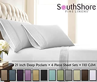 Southshore Fine Linens - 4 Piece - Extra Deep Pocket Pleated Sheet Set, King, Bright White