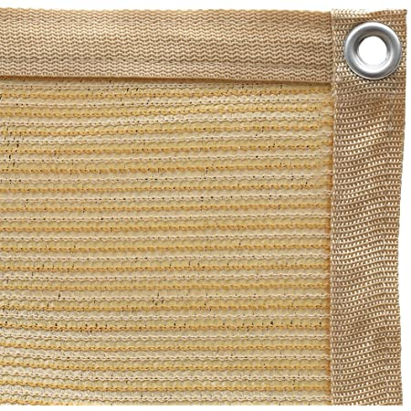Shatex 90% Shade Fabric Sun Shade Cloth with Grommets for Pergola Cover Canopy 10' x 12', Wheat, 12 Bungee Balls