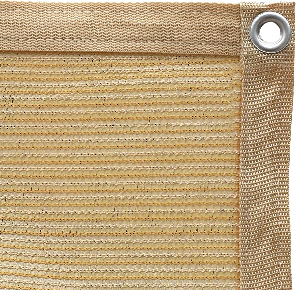 Shatex 90 Shade Fabric Sun Shade Cloth Taped Edge With Grommets Sun Block Mesh Shade For Pergola Cover Canopy 12 X 20 Wheat