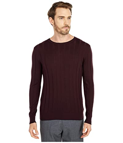 eleventy Ribbed Crew Neck Sweater w/ Tipping (Ruby/Navy) Men