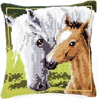 Vervaco Weiße Stute mit Fohlen Kreuzstichkissen/Stickkissen vorgedruckt, Baumwolle, Mehrfarbig, 40 x 40 x 0.3 cm