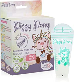 Piggy Pony 9 0z Breastmilk Storage Bags 60 Count Breastfeeding Nursing Triple-Zip Freezer Leak-Proof Resealable Nursing Pump Pouches BPA Free Reusable