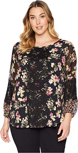 Plus Size Contrast Lace Panel Top