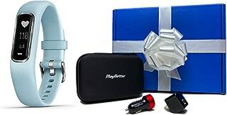 Garmin vivosmart 4 (Azure Blue/Silver - Small/Medium) Beat Yesterday Gift Box Bundle | +PlayBetter USB Car/Wall Adapters & Protective Hard Case | Fitness Activity Tracker | Heart Rate