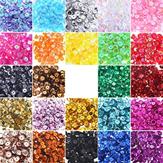 JOYAHO 6MM Loose Sequins, 8400PCS Bulk Round Rainbow Cup Sequins Embroidery Sequins Iridescent Spangles Craft Mixed 24 Col...